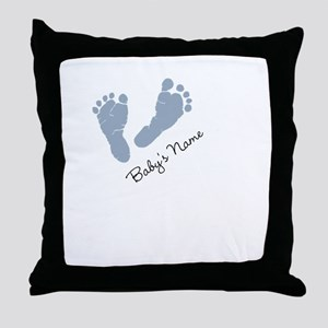 Baby Blue Footprints Throw Pillow