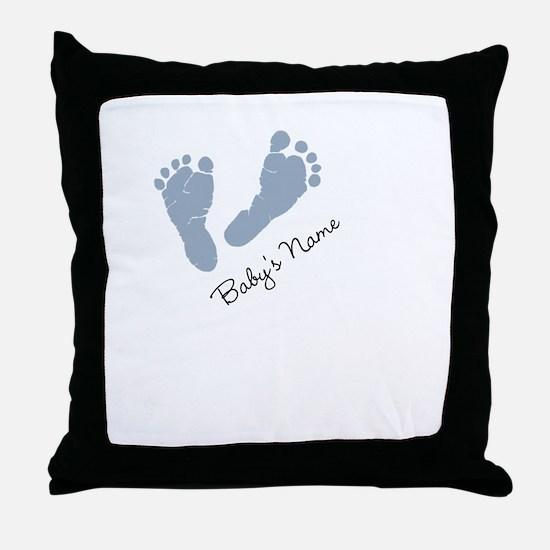 Baby Blue Footprints Throw Pillow