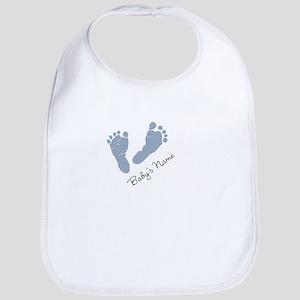 Baby Blue Footprints Bib
