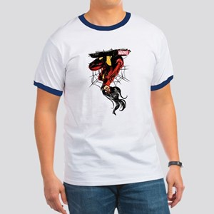 Spider-Woman Hanging Upside Down Ringer T