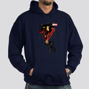 Spider-Woman Hanging Upside Down Hoodie (dark)