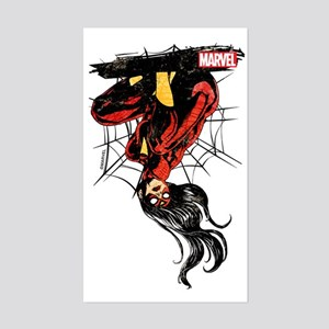 Spider-Woman Hanging Upside Do Sticker (Rectangle)
