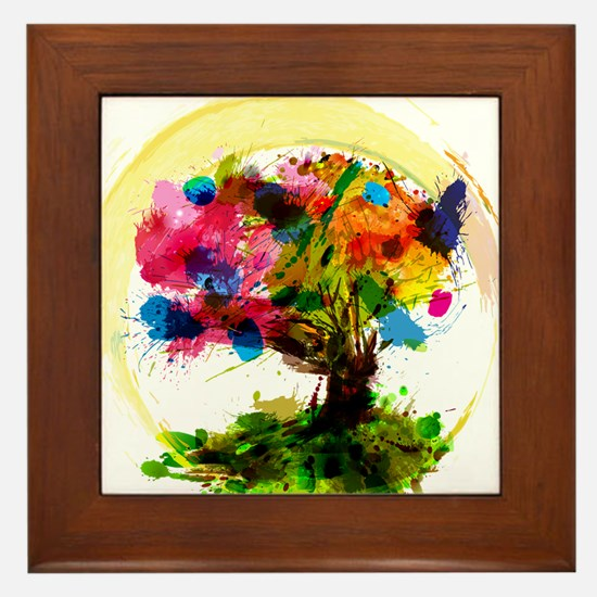 Watercolor Tree of Life Framed Tile