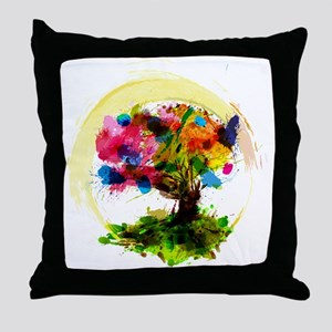 Watercolor Tree of Life Throw Pillow