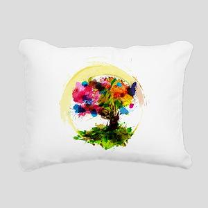 Watercolor Tree of Life Rectangular Canvas Pillow