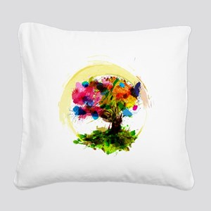 Watercolor Tree of Life Square Canvas Pillow