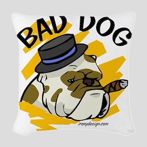 Bad Dog Woven Throw Pillow