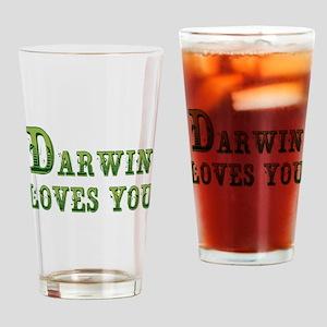Darwin Loves You Drinking Glass