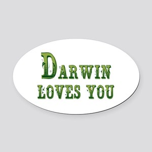 Darwin Loves You Oval Car Magnet