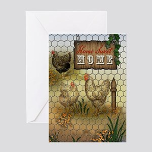 Home Sweet Home Chickens and Rooste Greeting Cards
