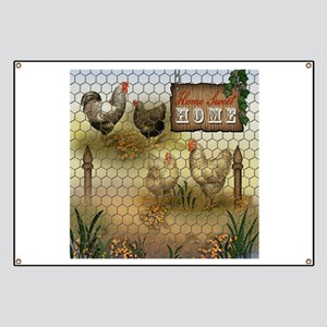 Home Sweet Home Chickens and Roosters Banner