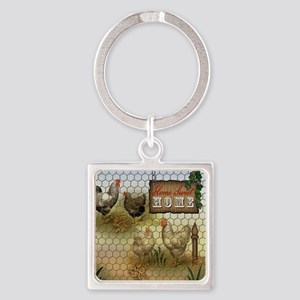 Home Sweet Home Chickens and Roosters Keychains