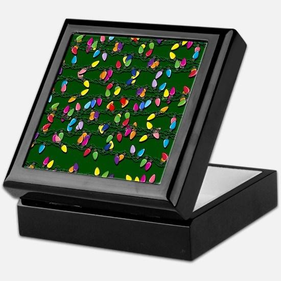 Holiday Lights on Green! Keepsake Box