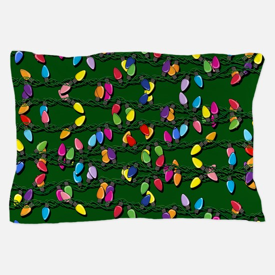 Holiday Lights on Green! Pillow Case
