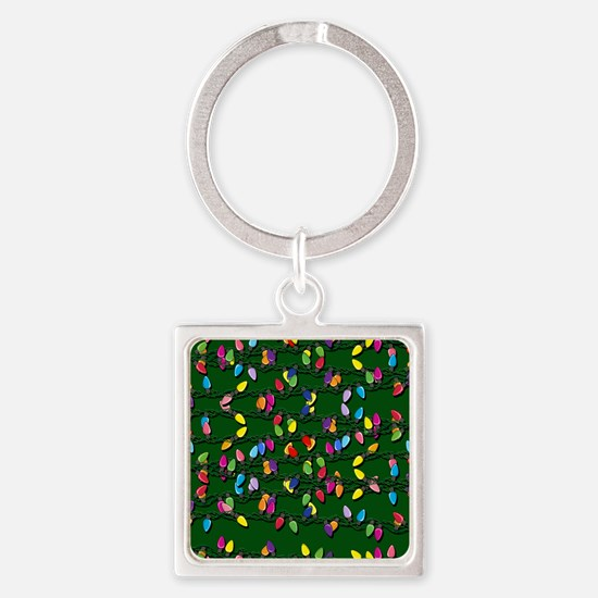 Holiday Lights on Green! Square Keychain