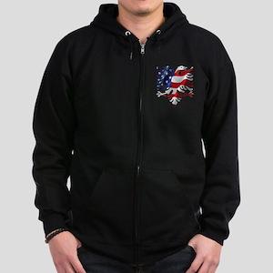 Albanian American Eagle Zip Hoodie (dark)