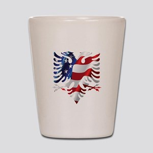 Albanian American Eagle Shot Glass