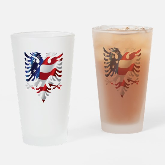 Albanian American Eagle Drinking Glass