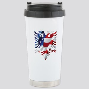 Albanian American Eagle Stainless Steel Travel Mug