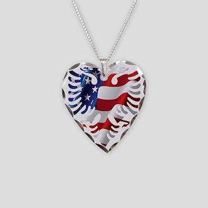 Albanian American Eagle Necklace Heart Charm