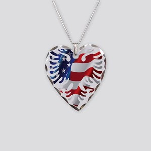 Albanian flag necklaces cafepress albanian american eagle necklace heart charm aloadofball Gallery