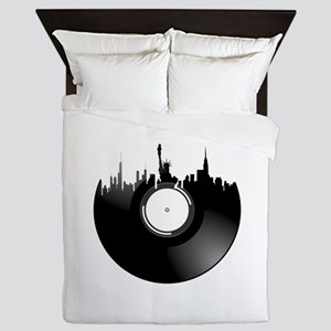 New York City Vinyl Record Queen Duvet
