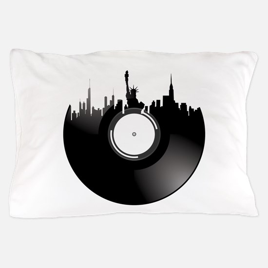 New York City Vinyl Record Pillow Case
