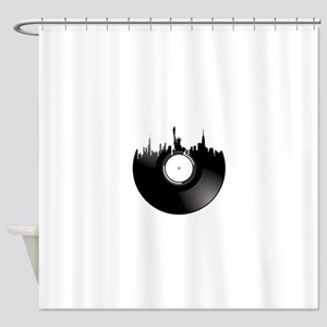 New York City Vinyl Record Shower Curtain