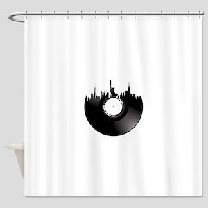 New York City Vinyl Record Shower Curtain