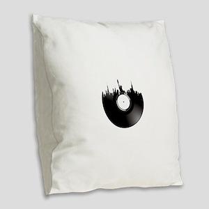 New York City Vinyl Record Burlap Throw Pillow