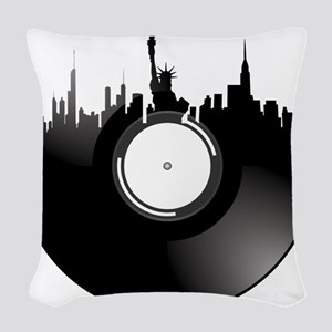 New York City Vinyl Record Woven Throw Pillow