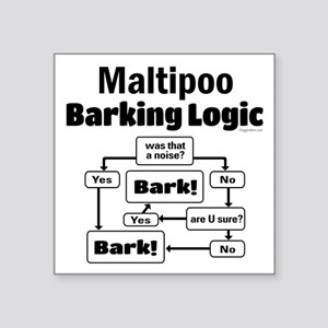 "Maltipoo Logic Square Sticker 3"" x 3"""