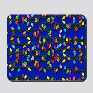 Holiday Lights on Blue! Mousepad