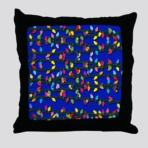 Holiday Lights on Blue! Throw Pillow