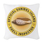 Sanibel Island Shell Inspector Woven Throw Pillow