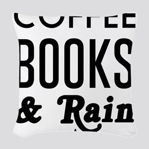 Coffee book and rain Woven Throw Pillow