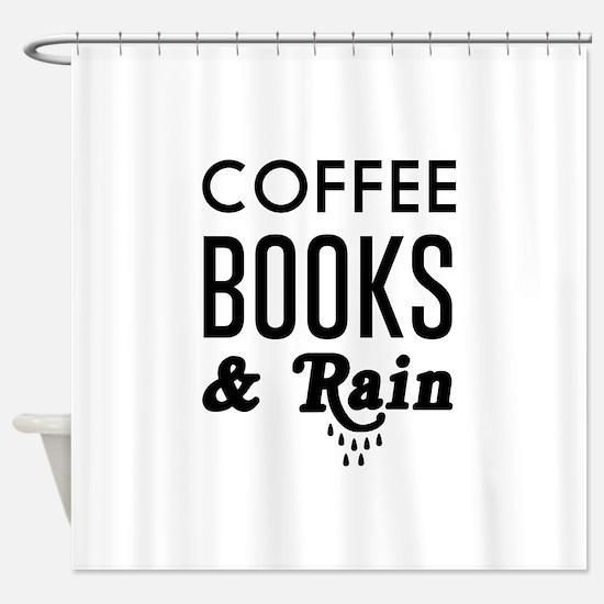 Coffee book and rain Shower Curtain
