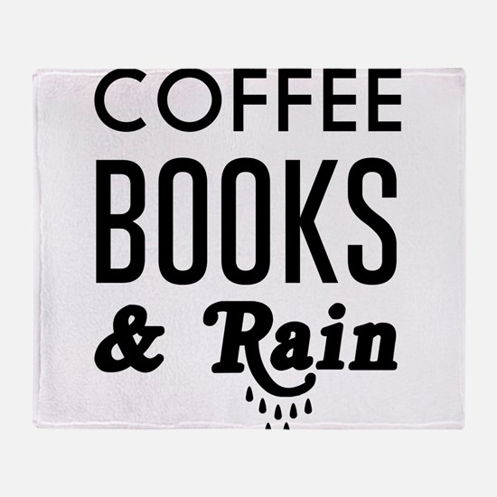 Coffee book and rain Throw Blanket