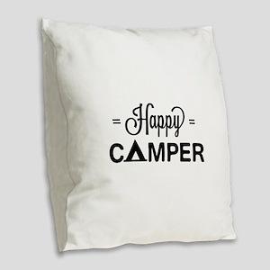 Cute happy camper Burlap Throw Pillow