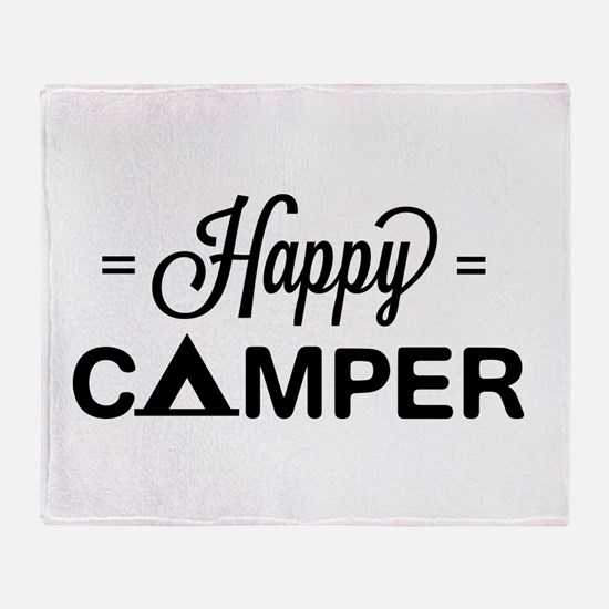 Cute happy camper Throw Blanket