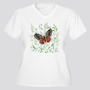 Whimsical Butterf Women's Plus Size V-Neck T-Shirt