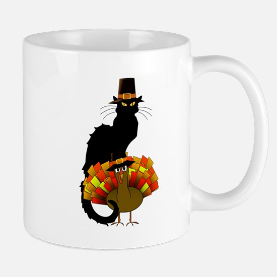 Thanksgiving Le Chat Noir With Turkey Pilgrim Mugs