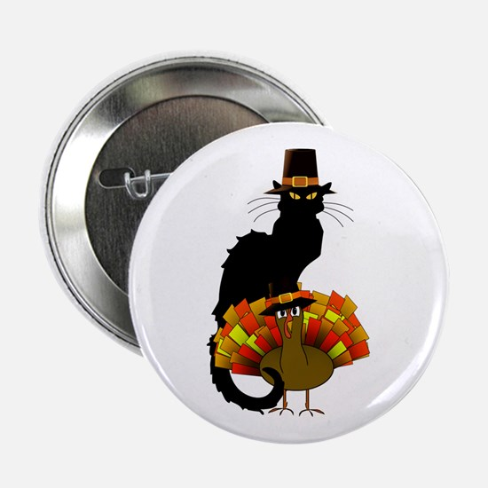 "Thanksgiving Le Chat Noir With Turkey 2.25"" Button"