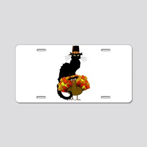 Thanksgiving Le Chat Noir W Aluminum License Plate