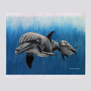 Dolphin Mother and Calf Throw Blanket