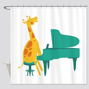 Piano Giraffe Shower Curtain