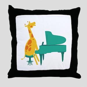 Piano Giraffe Throw Pillow