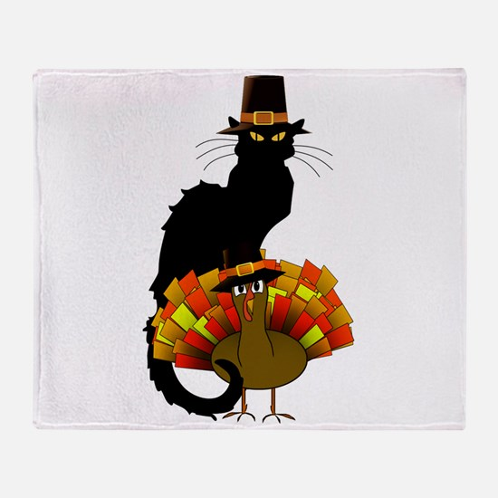 Thanksgiving Le Chat Noir With Turke Throw Blanket