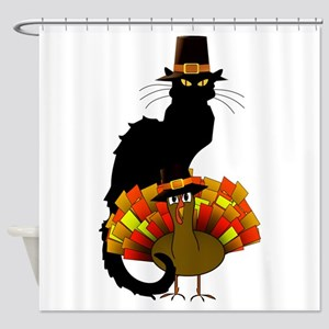 Thanksgiving Le Chat Noir With Turk Shower Curtain