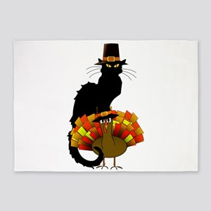 Thanksgiving Le Chat Noir With Turk 5'x7'Area Rug